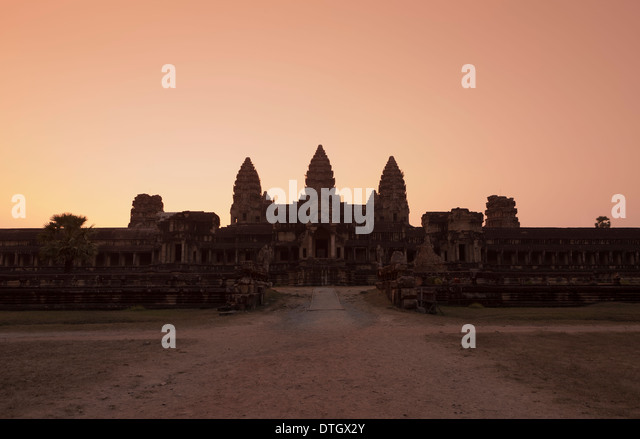 Eastern view of Angkor Wat at dusk, Cambodia - Stock Image