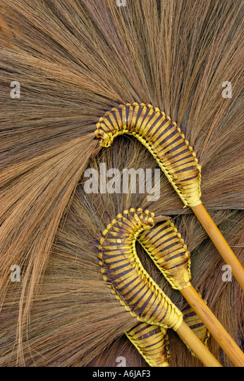 THAILAND Ayutthaya Brooms for sale in outdoor market - Stock-Bilder