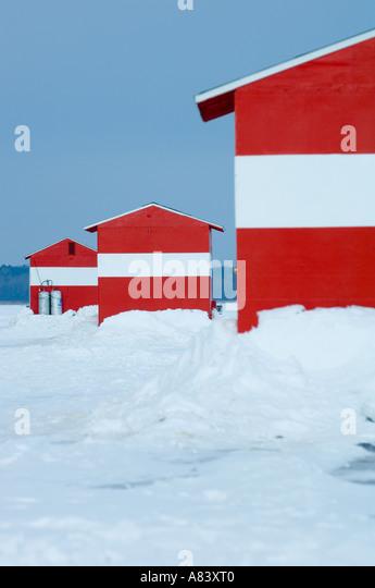 Minnesota ice fishing winter stock photos minnesota ice for Red lake fish house rental