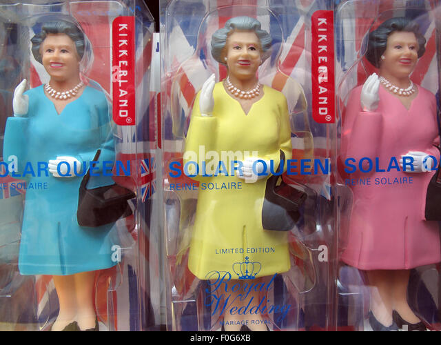 Many Queen Elizabeth of England Solar Powered toys, Mitte, Germany, Europe - Stock Image