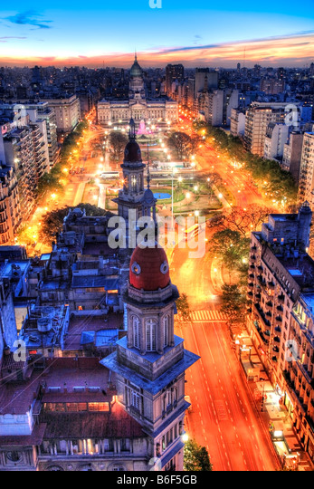 "National Congress and ""Two Congress square"" garden. Aerial view. Buenos Aires, Argentina, South America. - Stock Image"