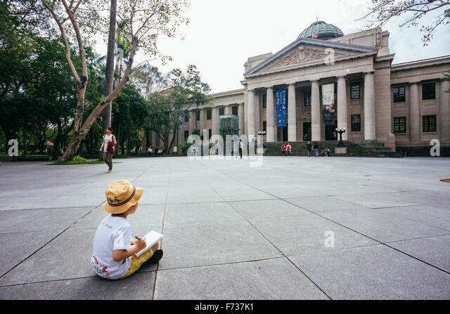 boy drawing architecture taipei - Stock Image