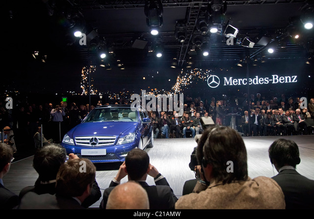 Detroit, Michigan - Preview of Mercedes C-Class car at Daimler press event at the North American International Auto - Stock Image