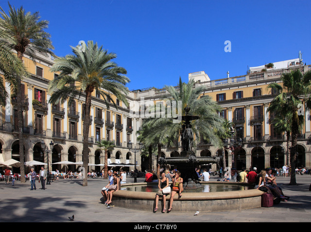 Spain, Catalonia, Barcelona, Placa Reial, - Stock Image
