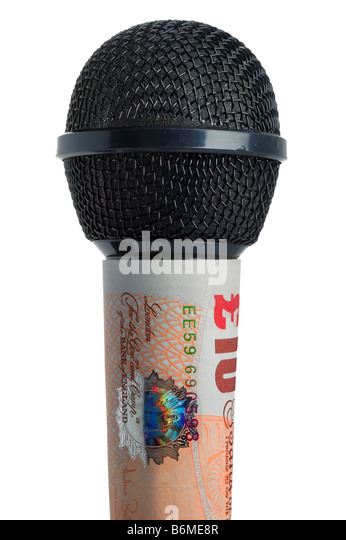 Concept Money talks image of a microphone made with a ten pound note on a white background - Stock-Bilder