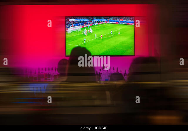 Zürich, bar with TV during soccer tournament - Stock Image
