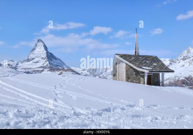 Bruder Klaus, Riffelberg Kapelle, Matterhorn, Zermatt, Gornergrat, Valais, Switzerland, Europe - Stock-Bilder