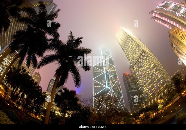 Financial District at dusk Hong Kong China - Stock Image