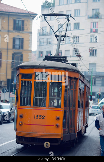 Europe, Italy, Lombardy, Milan, city tram - Stock Image