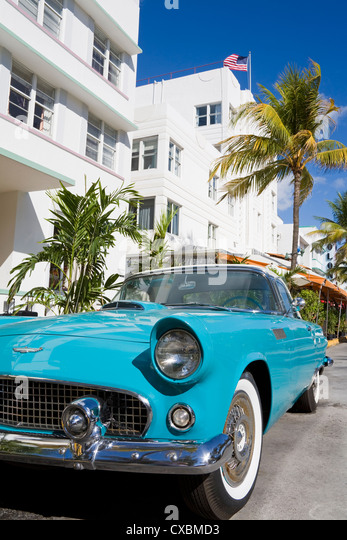 Avalon Hotel and classic car on South Beach, City of  Miami Beach, Florida, United States of America, North America - Stock Image
