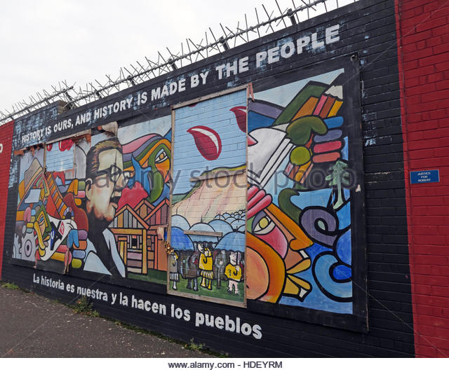 History Is Made By People - International Peace Wall,Cupar Way,West Belfast, Northern Ireland, UK - Stock Image