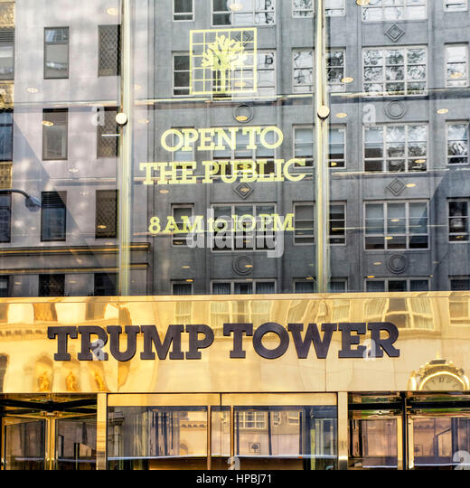 Trump Tower, golden entrance sign, fith avenue, Donald Trump, New York City, United States of America - Stock Image