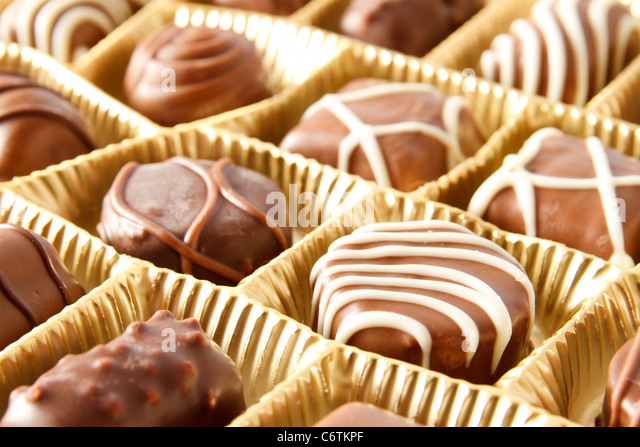 chocolate candy box close up - Stock Image