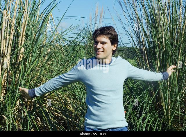 Man walking through tall reeds - Stock Image
