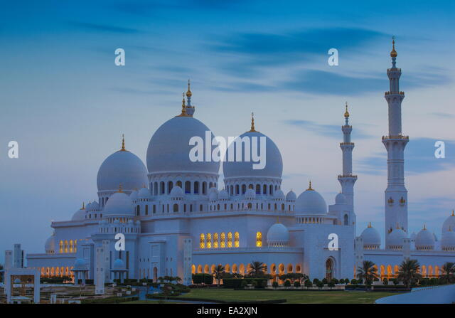 Sheikh Zayed Grand Mosque, Abu Dhabi, United Arab Emirates, Middle East - Stock Image