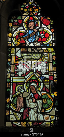 St Wilfrids Church Grappenhall-  West Window stained glass Detail, Warrington - Stock Image