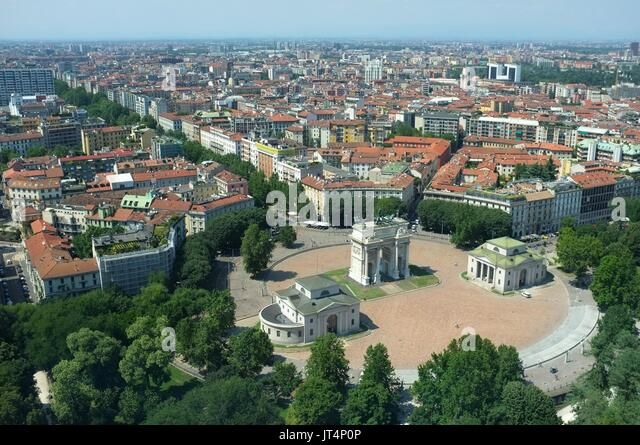 View from the Torre Branca (Branca Tower) of the Arco della Pace, Parco Sempione, Milan, Lombardy, Italy, July 2017 - Stock Image
