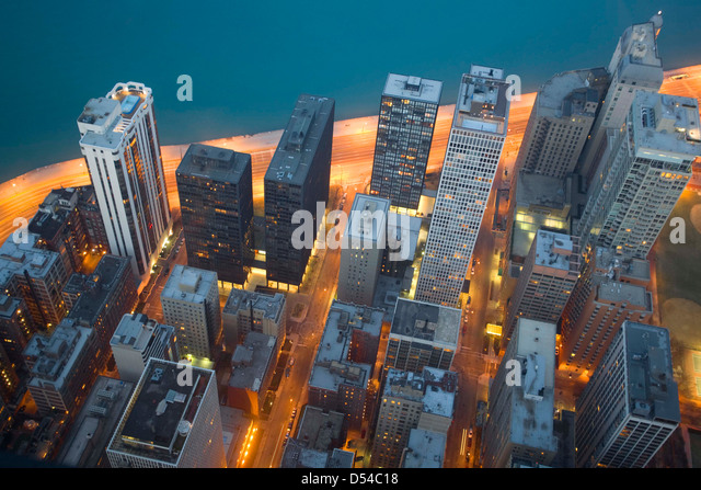 Chicago and Lake Michigan from the 94th floor of the John Hancock Building, Chicago, Illinois - Stock Image