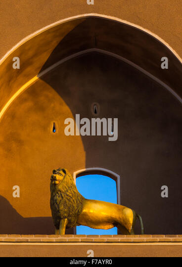 Lion Statue In A Hosseinieh  , Yazd Province, Yazd, Iran - Stock Image