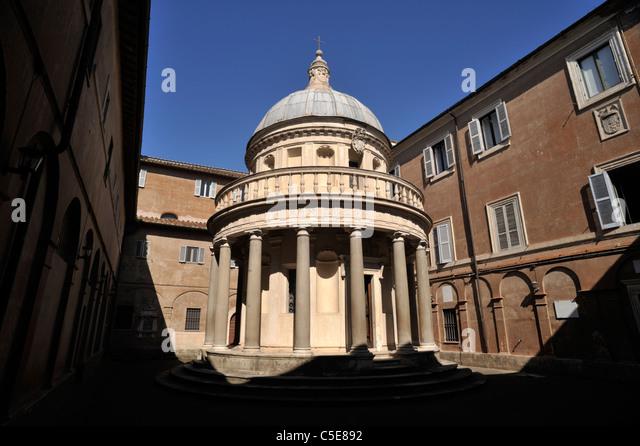 italy, rome, complex of san pietro in montorio, tempietto del bramante temple, renaissance architecture - Stock Image