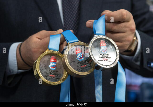 Moscow, Russia. 26th Apr, 2016. 2016 IIHF Ice Hockey World Championship medals unveiled at a press conference. © - Stock Image