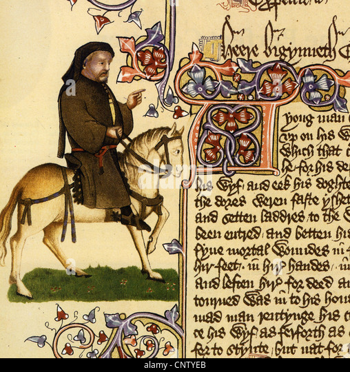 GEOFFREY CHAUCER (c 1343 - 1400) English poet as shown on the Ellesmere manuscript - Stock Image