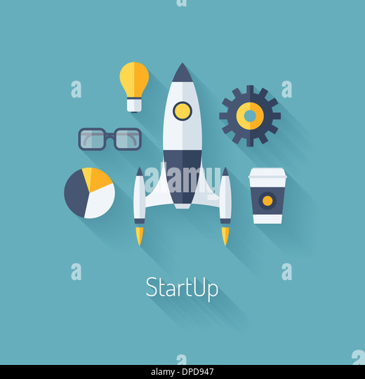 Flat design modern illustration concept of new business project startup development and launch a new innovation - Stock-Bilder
