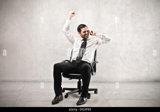 Businessman rejoicing - Stock Image