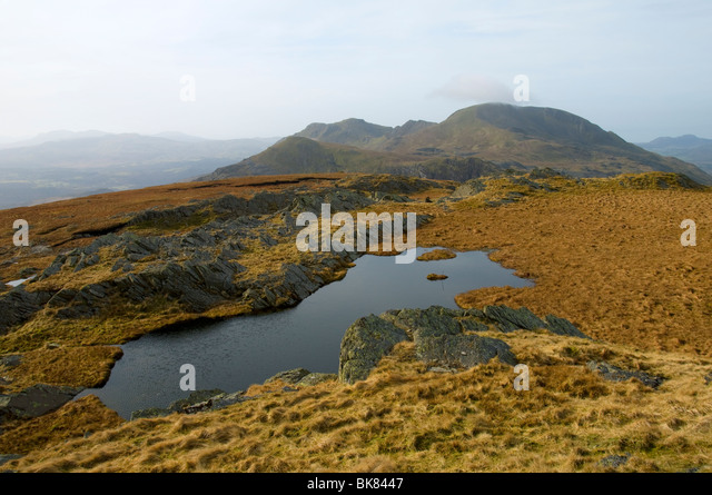 Moel Hebog from Allt-fawr, in the Moelwyn hills, Snowdonia, North Wales, UK - Stock Image
