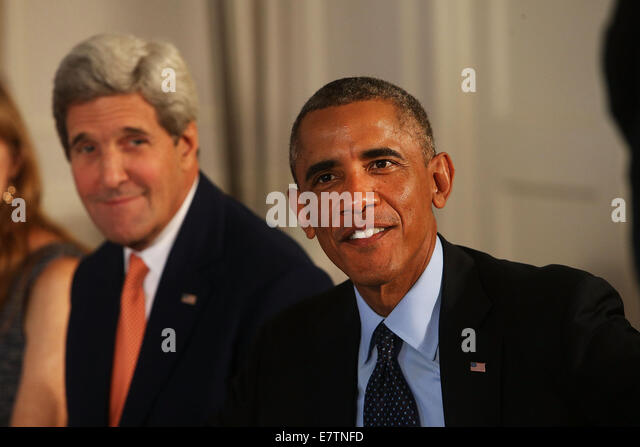 New York, USA. 23rd September, 2014. U.S. President Barack Obama and US Secretary of State John Kerry meet with - Stock Image
