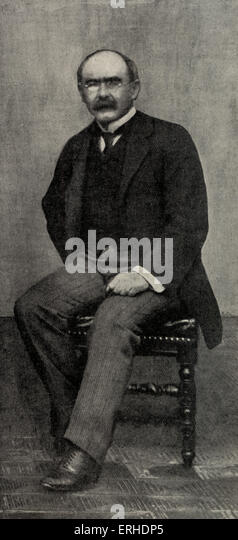 Rudyard Kipling - portrait with glasses.  English poet and novelist. 30 December 1865 (in Mumbai ) - January 1936. - Stock-Bilder