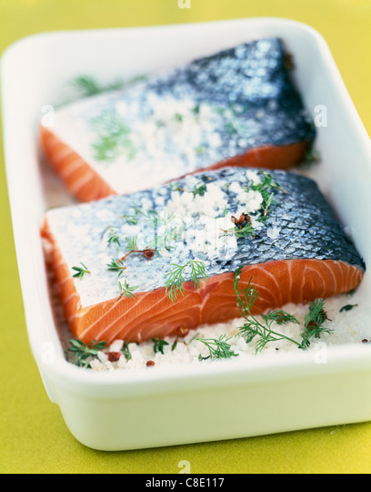 Thick pieces of salmon on a layer of coarse salt - Stock Image