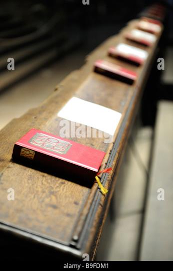 Hymnbooks on pew in church, Bohemia, Prague, Czech Republic - Stock Image