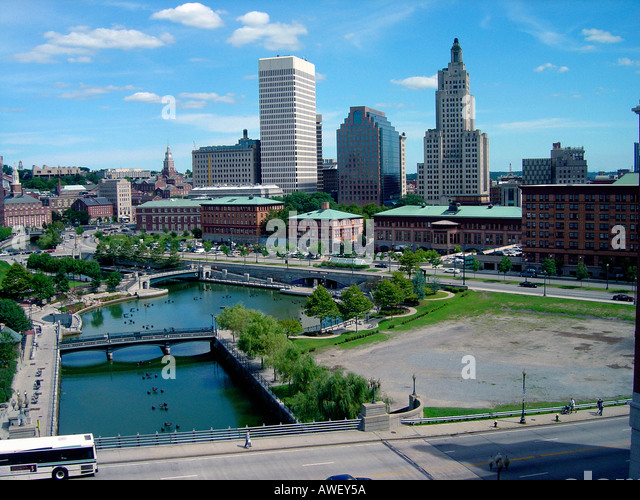 Color Photograph of Downtown Providence Rhode Island USA - Stock Image