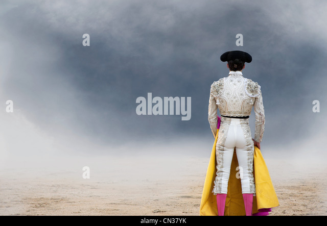 Bullfighter, rear view, Las Ventas bullring, Madrid - Stock Image