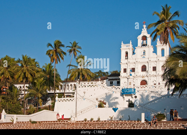Baroque style The Church of Our Lady of the Immaculate Conception in Panaji, Goa. - Stock-Bilder