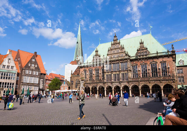 Am Markt square with the Rathaus, Alt Stadt, Bremen, germany - Stock Image