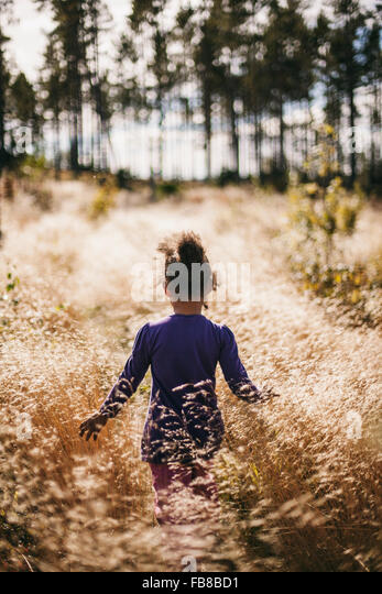 Sweden, Medelpad, Sundsvall, Juniskar, Rear view of girl (6-7) walking in field - Stock Image
