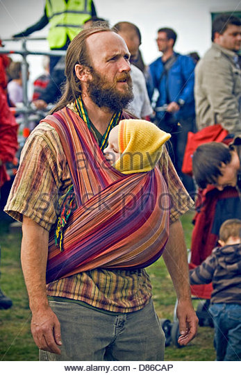 Young man with son at Festival Of World Cultures in Dún Laoghaire, Dublin. - Stock-Bilder