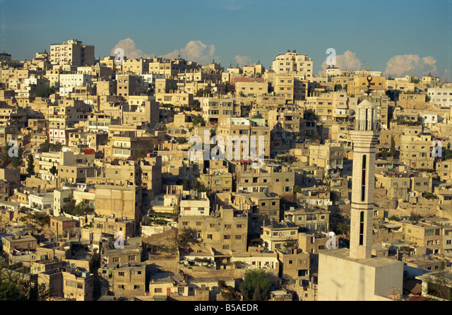 Aerial view over Jebel Alqala'a, Amman, Jordan, Middle East - Stock Image
