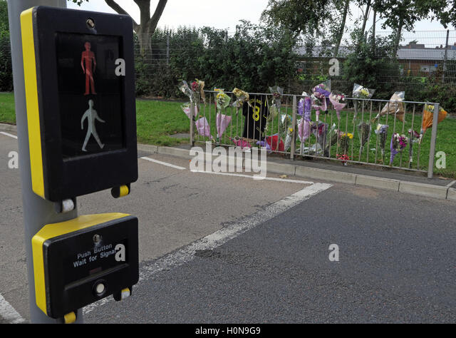 Accident at a Pelican Road Crossing, Howley, Warrington, Cheshire, England UK - Stock Image