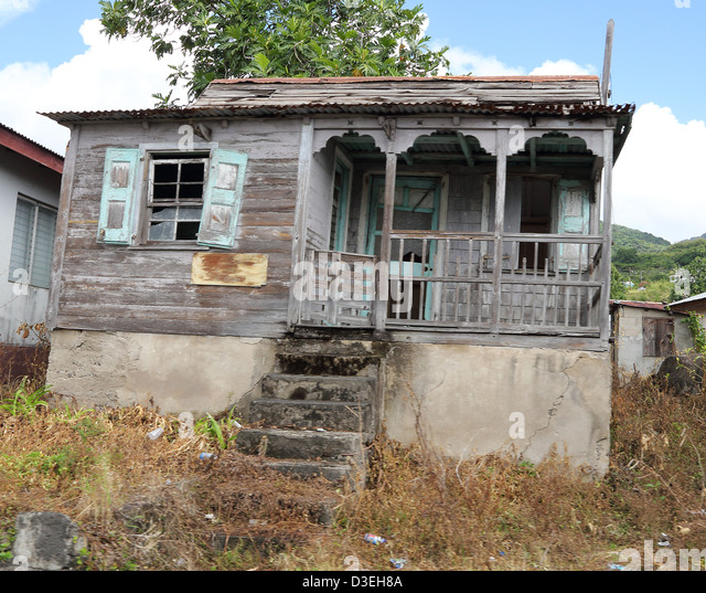 Traditional Wooden Caribbean House Stock Photos