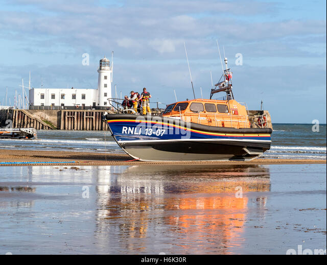 Beached RNLI Shannon Class Lifeboat 13-07 at Scarborough Yorkshire UK - Stock Image