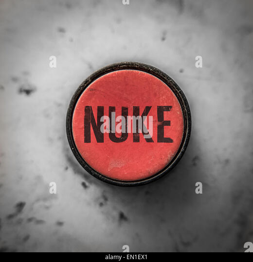 Grungy Industrial Style Button With Word Nuke - Stock Image