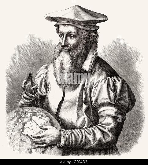 Gerardus Mercator or Gerard de Kremer, 1512-1594, a cartographer, geographer, theologian and philosopher - Stock-Bilder