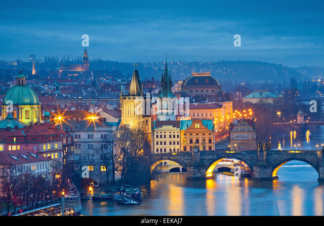 Prague.  Image of Prague, capital city of Czech Republic and Charles Bridge, during twilight blue hour. - Stock Image