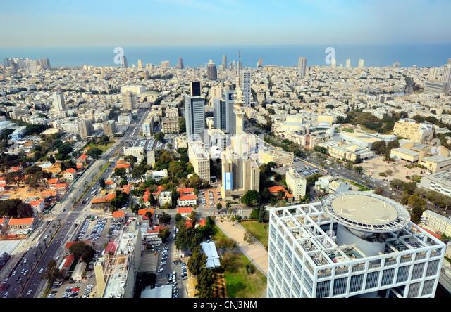 Aerial skyline of Tel Aviv, Israel. - Stock Image