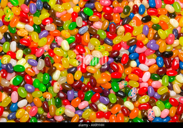 A large colorful assortment jelly bean background - Stock Image