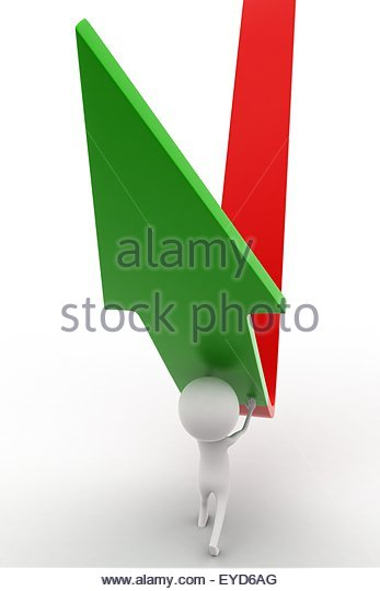 3d man elevating a down arrow concept on white isolated background  , front angle view - Stock Image
