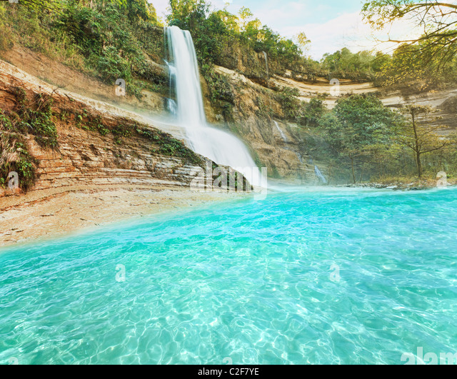 Beautiful waterfall vintage style. Bohol. Philippines - Stock-Bilder